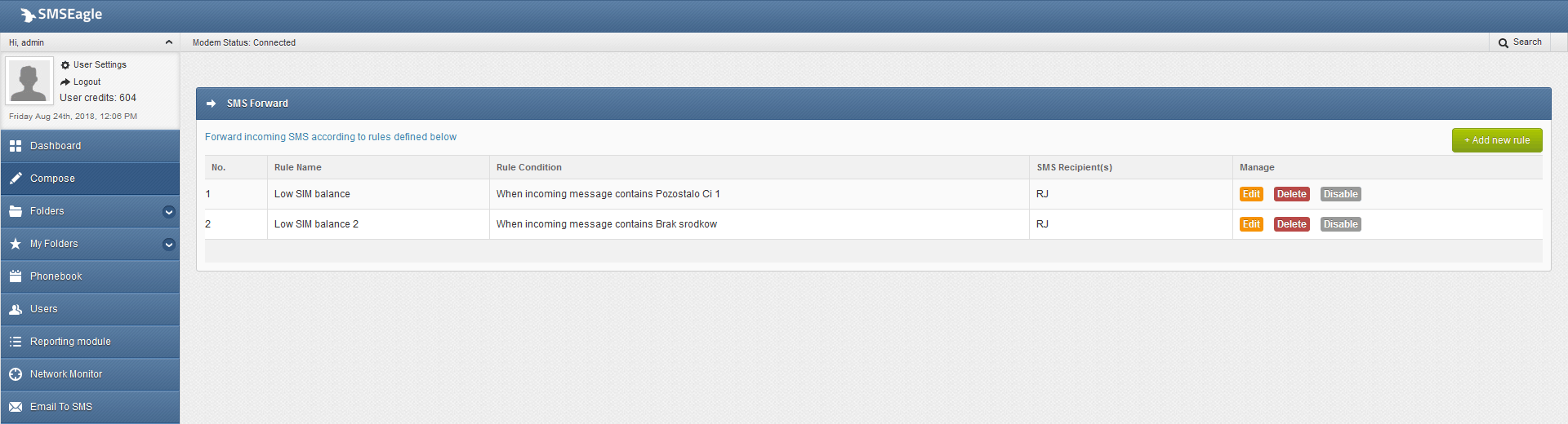 SMS Forward | SMSEagle